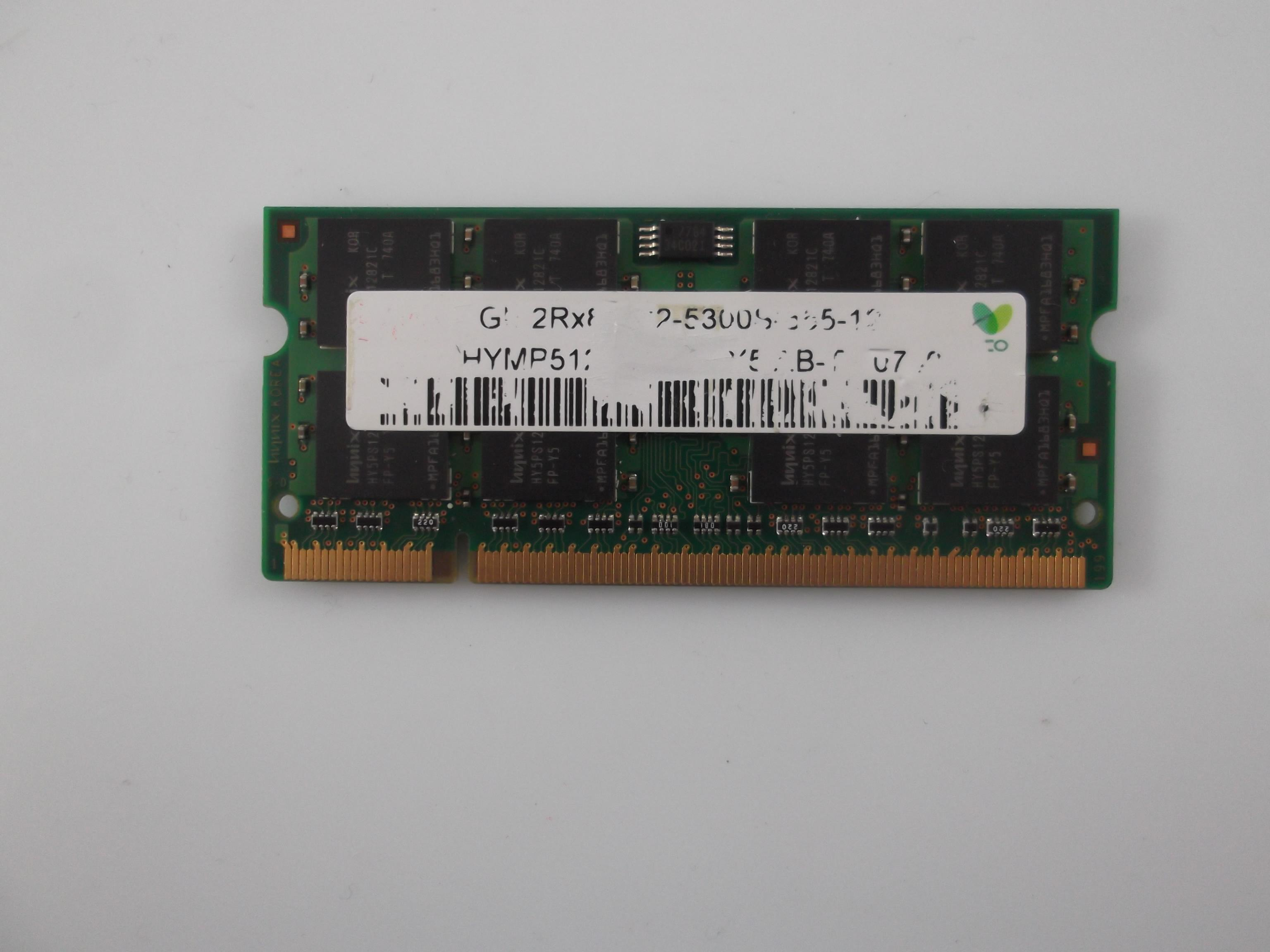 HYMP112S64CP6-Y5  HYNIX LAPTOP MEMORY 1GB DDR2 PC2 5300S CA66